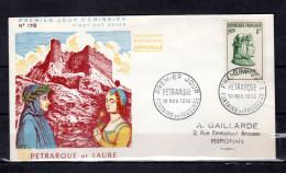 """Enveloppe 1er Jour De 1956 """" PETRARQUE """" N° YT 1082. Voir Les Scans Recto/Verso. FDC - 1950-1959"""