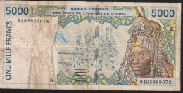 W.A.S. LETTER K = SENEGAL 713Kc 5000 FRANCS (19)94 1994 FINE - Senegal