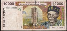 W.A.S. LETTER A = IVORY COST P114e 10000 10.000 FRANCS (19)97 1997 FINE Folds ,only 2 P.h. ! - Côte D'Ivoire