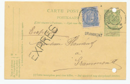 704/23 - Entier Armoiries + TP Fine Barbe En EXPRES Télégraphique HOUDENG 1905 Vers GRAMMONT - RARE Arrivée Griffe Poste - Stamped Stationery