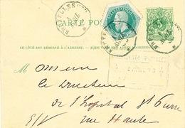 705/23 - Entier Lion Couché + TP Télégraphe En EXPRES Télégraphique BRUXELLES EST 1883 En Ville - Stamped Stationery