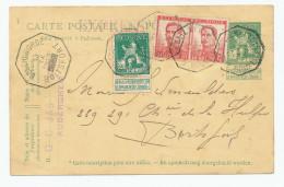 708/23 - Entier Pellens + TP Idem En EXPRES - Télégraphique BRUXELLES Q.L. 1913 Vers BOITSFORT - Postcards [1909-34]