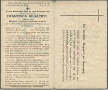 Doodsprentje Francisca Bogaerts - Geboren Meisse  1858 - Religion &  Esoterik