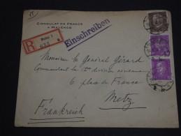 ALLEMAGNE - Enveloppe En Recommandée De Mainz Pour Metz En 1932 , Affranchissement Bicolore - A Voir- L 231 - Cartas