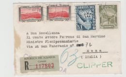 Ecu092 /  ECUADOR - Clipper Service Nach Italien 1953 - Ecuador