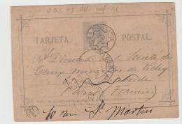EE005 /-/SPANIEN -  Victoria Nach Paris 1885 Mit Bahnpoststempel Und Neuer Anschrift - 1873 1. Republik
