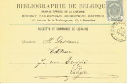 CP/PK Publicitaire BRUXELLES 1908 - BIBLIOGRAPHIE DE BELGIQUE - Ernest VANDEVELD Directeur-Editeur - Otros