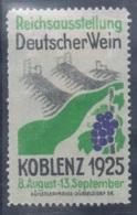 """VIN-L25 - ALLEMAGNE Vignette """"Reichsaustellung Deutscher Wein Koblenz 1925 - Vins & Alcools"""
