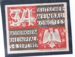 """VIN-L26 - ALLEMAGNE Vignette """"Deutscher Weinbau-Kongress BADDÜRKHEIM Rheinpfalz 1927 - Vins & Alcools"""