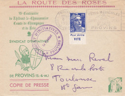 Lettre FRANCE N°Yvert 886 (MARIANNE) Obl Sp FLAMME Ill Fêtes Médiévales Provins - Marcophilie (Lettres)