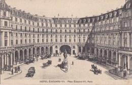 PARIS IX°  Belle CPA Illustrée  Place EDOUARD VII  Statue HOTEL Et THEATRE Edouard VII AUTOMOBILES Attelages - Distrito: 09