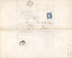 1876 -AULNAT Vers ISSOIRE (PUY-DE-DÔME) LETTRE AVEC DOUBLE FACTURE ET CACHET SUCRERIE BOURDON AULNAT -25 Cts BLEU N° 60. - 1849-1876: Klassik