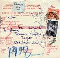 JUGOSLAWIEN 1924 - 30 D + Sondermarke Mit Überdruck Auf Bulletin Gel.v.V.Beckerek > Zagreb - 1919-1929 Königreich Der Serben, Kroaten & Slowenen