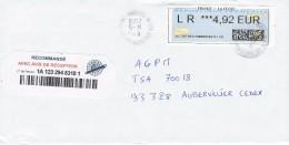 Lettre Recommandée VIGNETTE LISA DATA - Marcophilie (Lettres)