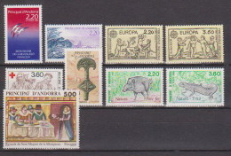 Andorre N° 376 à 384  Neufs ** (année Complete 1989) - Unused Stamps
