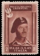 ITALIA / CORPO POLACCO (Campagna D´Italia) - Effige Del Generale Anders -  2 Z. Bruno Rosso - 1946 - 1946-.. République