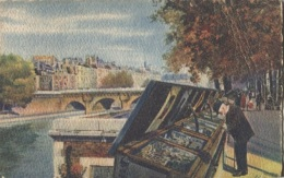 CPA - PARIS - En Flanant ....BOUQUINISTES DU QUAI CONTI (carte Illustrée) - Edition Yvon - Le Anse Della Senna