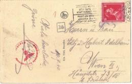 5pk-121: Postkaart: BRUXELLES La Bourse: Verstuurd > Wien III 10.9.1940 + Censuurstempels - WW II