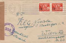 JUGOSLAWIEN 1946 - 2 Fach Frankierung Mit Überdruck Auf Zensurierten Brief Gel.v.Zagreb > Wien - 1945-1992 Sozialistische Föderative Republik Jugoslawien