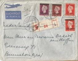 -5pk-116: Gemengde Frankering : N° 343 ( Ned. Undië) +N°4+5+7 (Indonesie) : SOEBANG > BENNEKOM 1949: Aangetekend & Lucht - Netherlands Indies