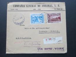 Peru Luftpostbeleg 1938 Via New York. Certificado. R 190475 Lima. Compania General De Anilinas S.A. - Peru