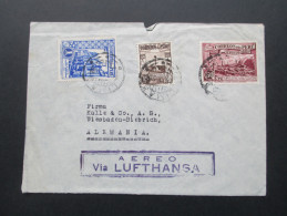 Peru Luftpostbeleg 1938. MiF. Aereo Via Lufthansa. Dreifarben Frankatur. Compania General De Anilinas S.A. - Peru
