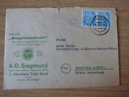 15.06.1959, BELEG Der FABRIK CHEM.-PHARM. PRÄPARATE Und LIKÖRE A.O.SIEGMUND Mit LANDPOSTSTEMPEL OBERHAIN über RUDOLSTADT - Cartas