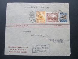 Kolumbien 1938 Luftpostbeleg Correo Aereo. Mancomun. Alemania - New York. Emilio Mettler & Cia - Kolumbien