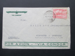 Uruguay 1939 Luftpostbrief Via Condor. A Anilinas Alemanas Montevideo - Uruguay