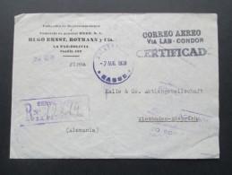 Bolivien 1939 Luftpostbeleg Correo Aero / Via LAB Condor. MiF.Registered Letter/Certificado. Marken Rückseitig Frankiert - Bolivien