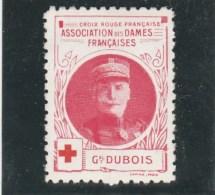 Vignette Militaire Croix Rouge - Association Des Dames Françaises - Général Dubois - Commemorative Labels