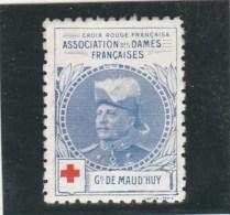 Vignette Militaire Croix Rouge - Association Des Dames Françaises - Général De Maud Huy - Commemorative Labels