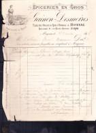 Mayenne Facture De GAIMON-DESMOIRES Epicerie En Gros  Année 1898 - 1800 – 1899