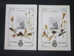 2 Images Pieuses Religieuses Fleurs Séchées Le JARDIN De SAN PASCUAL à VILLARREAL (Espagne) - Santini