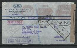 Estado Español. 1942_Correo Aéreo Certificado De Barcelona  Al Departamento De Estado En Washington D.C. - 1931-Today: 2nd Rep - ... Juan Carlos I