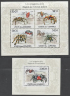COMORES , 2010, MNH,SPIDERS, SPIDERS OF THE INDIAN OCEAN,  SHEETLET + S/SHEET - Spiders