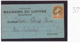 Préo 57 - 25c Semeuse Sur étiquette D´imprimé Grands Magasins Du Louvre Paris Pour Falaise Calvados - Préoblitérés