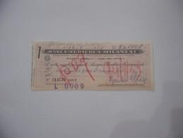 ASSEGNO BANCA AGRICOLA MILANESE   1969 - Assegni & Assegni Di Viaggio