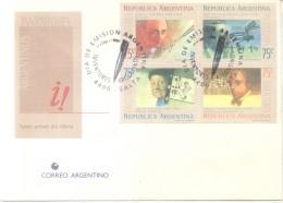 INVENTORES ARGENTINOS - AÑO 1994 - COMPLETE SET FDC LADISLAO JOSE BIRO RAUL PATERAS DE PESCARA QUIRINO CRISTIANA ENRIQUE