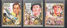 1991 Comoros  World War II Films Flynn Bogart   Complete Set Of 3 MNH - Isole Comore (1975-...)