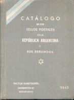 CATALOGO VICTOR KNEITSCHEL AÑO 1943 DE 404 PAGINAS TAPA DURA HARDCOVER DEDICADO Y AUTOGRAFIADO POR EL AUTOR A UN DESTACA - Postzegelcatalogus