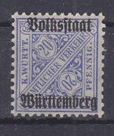 WÜRTTEMBERG 264 D, Postfrisch **, Dienstmarke, Geprüft - Wuerttemberg