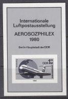 DDR Block 59 S, Schwarzdruck, AEROSOZPHILEX ´80 - Blocks & Sheetlets