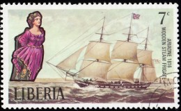 LIBERIA - Scott #610 Sailing Ship,  Ariadne 1816 / Used Stamp - Liberia