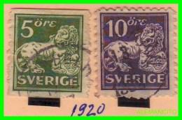 SUECIA    (  SVERIGE )  2  SELLOS  AÑO 1920 - Oblitérés