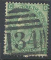 GREAT BRITAIN   54, Used, SCV$40, Sound,, Pl#5, Green...  (gb054-8, S.G.  117.....[16-dt - 1840-1901 (Victoria)