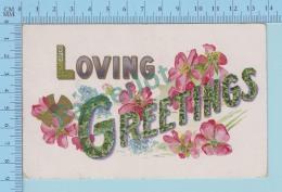 CPA 1908 Embossée Relief , Loving Greeting, Flowers  - Postcard Carte Postale 2 Scans - Autres
