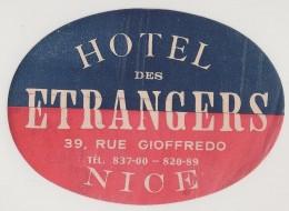 Hotel Label - France - Nice - Hotel Des Etrangers - Etiquette Publicité - Label Publicity - Etichetta Pubblicita - Hotel Labels