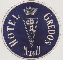Hotel Label - Spain - Madrid - Hotel Gredos - España Etiquette Publicité - Label Publicity - Etichetta Pubblicita - Hotel Labels