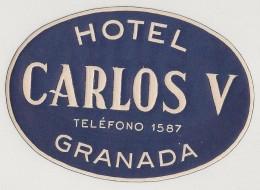 Hotel Label - Spain - Granada - Hotel Carlos V - España Etiquette Publicité - Label Publicity - Etichetta Pubblicita - Hotel Labels
